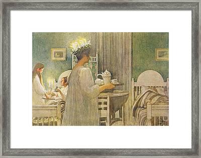 Christmas Morning, Pub. In Lasst Licht Framed Print by Carl Larsson