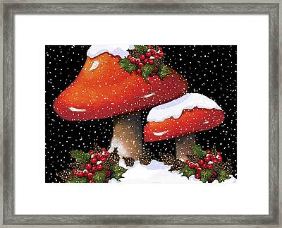 Christmas Mushrooms In Snow Framed Print