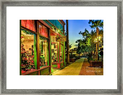 Sunset Christmas Store Framed Print by Paula Porterfield-Izzo