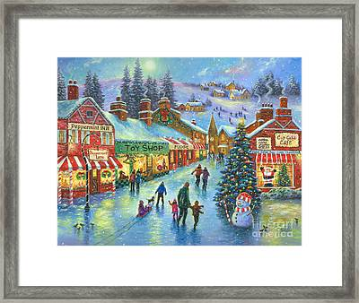 Christmas On Peppermint Lane Framed Print by Vickie Wade