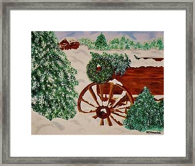 Christmas On The Farm Framed Print by Celeste Manning