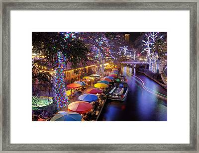 Christmas On The Riverwalk Framed Print
