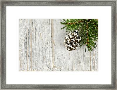 Christmas Ornament On Pine Branch Framed Print