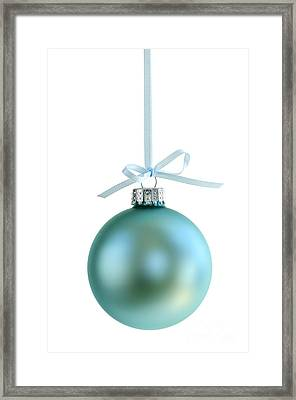 Christmas Ornament On White Framed Print by Elena Elisseeva