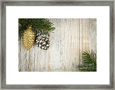 Christmas Ornaments With Pine Branches Framed Print by Elena Elisseeva