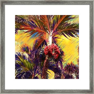 Christmas Palm Tree In Yellow - Square Framed Print