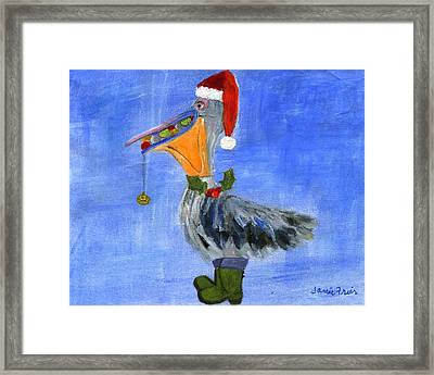 Christmas Pelican Framed Print by Jamie Frier