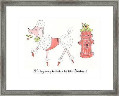 Christmas Poodle Framed Print by Stephanie Grant