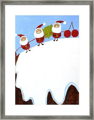 Christmas Pudding And Santas Framed Print
