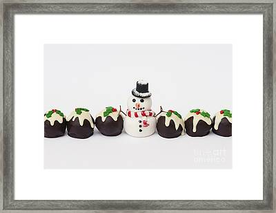 Christmas Pudding Chocolates And Snowman Framed Print by Tim Gainey
