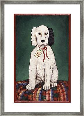 Christmas Puppy Framed Print by Linda Mears