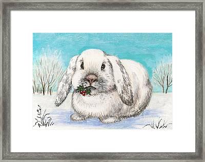 Christmas Rabbit Framed Print by Margaryta Yermolayeva
