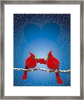 Christmas Red Cardinal Twig Snowing Heart Framed Print by Frank Ramspott