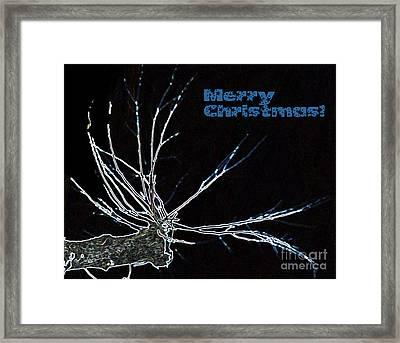 Christmas Reindeer Greeting Framed Print by Ausra Huntington nee Paulauskaite
