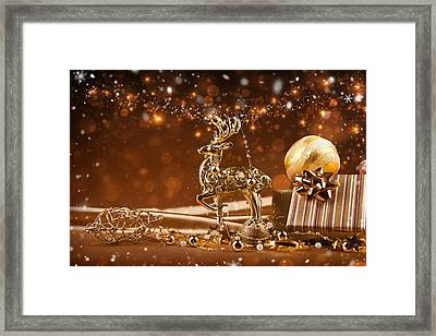 Christmas Reindeer In Gold Framed Print