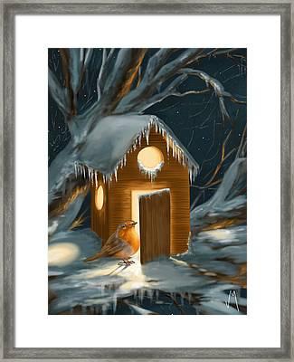 Christmas Robin Framed Print by Veronica Minozzi