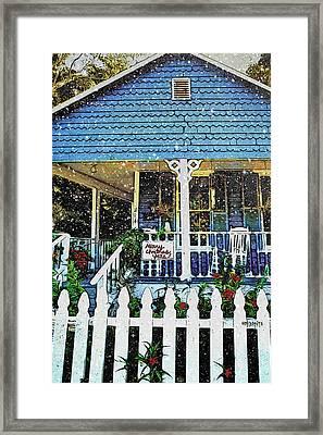 Christmas Scene Blue House Snow Falling - Merry Christmas Yall  Framed Print