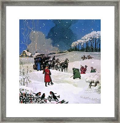 Christmas Scene Framed Print by English School