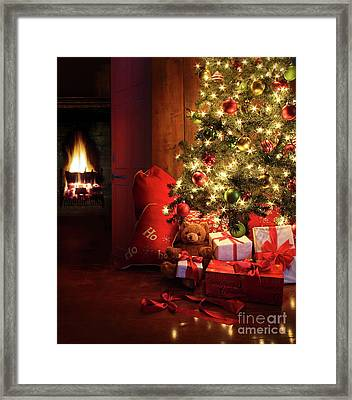 Christmas Scene With Tree And Fire In Background Framed Print by Sandra Cunningham