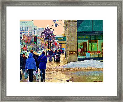 Christmas Shoppers Ogilvys Enchanted Village Window Display A Montreal Xmas Tradition Carole Spandau Framed Print by Carole Spandau