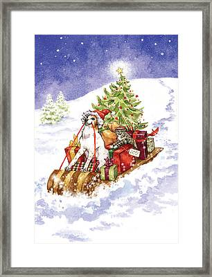 Christmas Sleigh Ride Dog And Cat Framed Print by Caroline Stanko