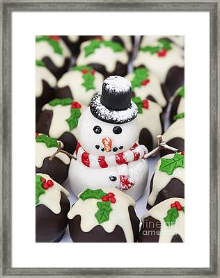 Christmas Snowman And Chocolate Puddings Framed Print by Tim Gainey