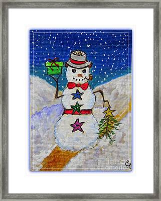 Christmas Snowman With Gifts Of Love Framed Print by Ella Kaye Dickey