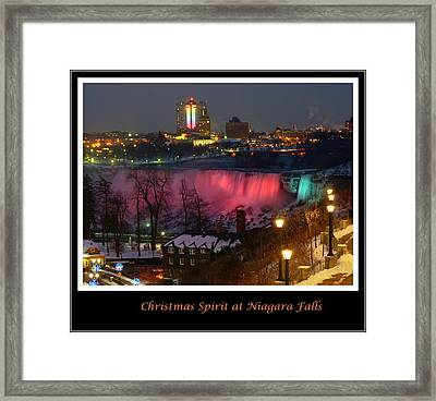 Christmas Spirit At Niagara Falls - Holiday Card Framed Print by Lingfai Leung