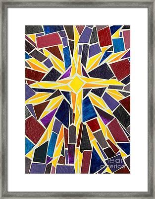 Christmas Star Of Bethlehem Mosaic Christmas Card Framed Print