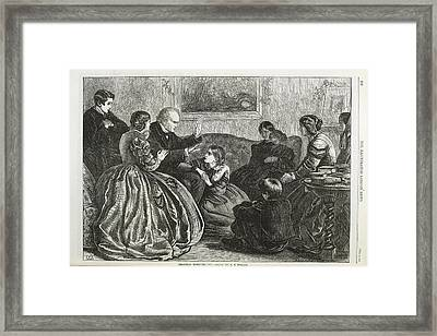 Christmas Story Telling Framed Print by British Library