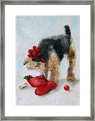 Christmas Surprise Framed Print by Mary Sparrow