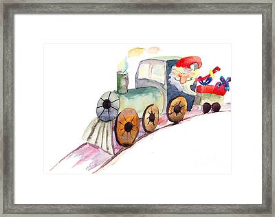 Christmas Train With Santa Claus Framed Print