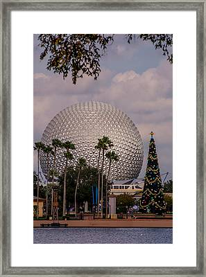 Christmas Tree And Spaceship Earth Framed Print by Zina Stromberg