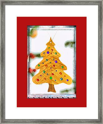 Christmas Tree Art Ornament In Red  Framed Print