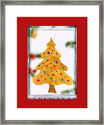 Christmas Tree Art Ornament In Red  Framed Print