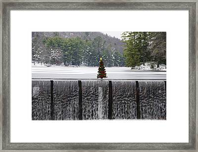 Christmas Tree At Bear Creek Waterfall Framed Print