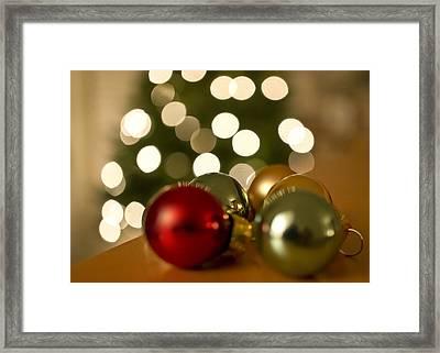 Christmas Tree Bokeh And Ornaments Framed Print by Mariola Szeliga