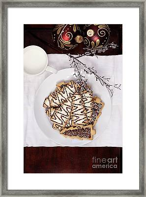 Christmas Tree Cookies An Milk Framed Print by Stephanie Frey