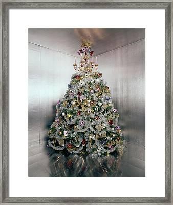 Christmas Tree Decorated By Gloria Vanderbilt Framed Print