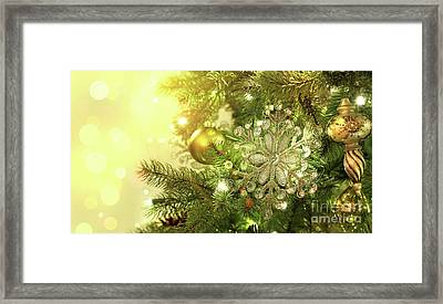 Christmas Tree Decorations With Sparkle Background Framed Print