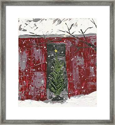 Christmas Tree In Barn Framed Print