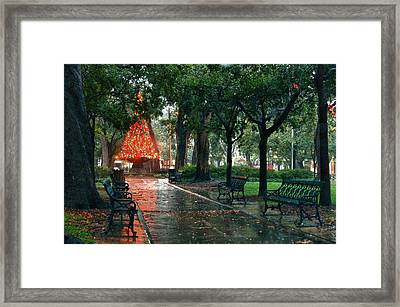 Christmas Tree In Bienville Square Framed Print by Michael Thomas