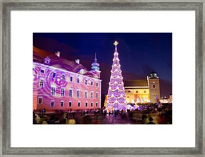 Christmas Tree In Warsaw Old Town Framed Print by Artur Bogacki
