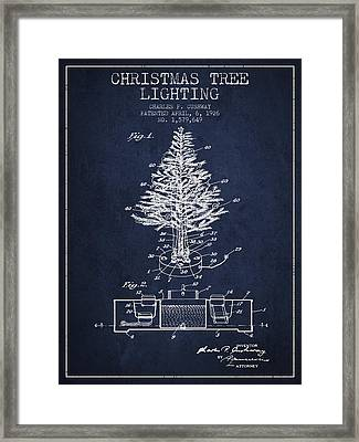 Christmas Tree Lighting Patent From 1926 - Navy Blue Framed Print by Aged Pixel