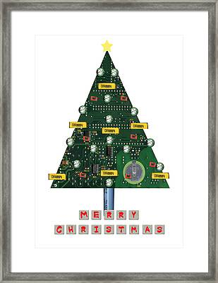 Christmas Tree Motherboard Framed Print by Mary Helmreich