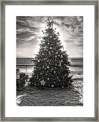 Framed Print featuring the painting Christmas Tree On The Beach by Gregory Dyer