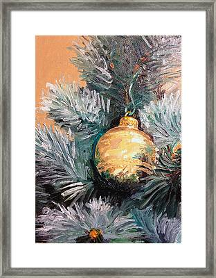 Christmas Tree Ornament Gold Framed Print