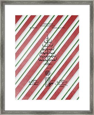 Christmas Tree Patent Candy Cane Framed Print by Dan Sproul