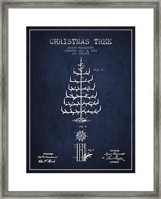 Christmas Tree Patent From 1882 - Navy Blue Framed Print by Aged Pixel