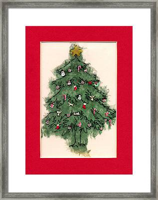 Christmas Tree With Red Mat Framed Print by Mary Helmreich